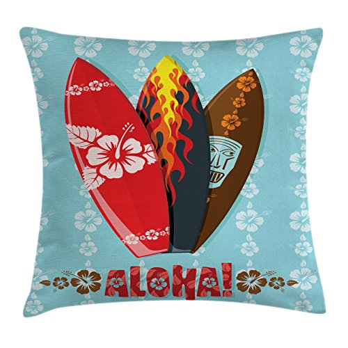 Ambesonne Surf Throw Pillow Cushion Cover, Illustration of Modern Aloha Surfboards with Hibiscus Tribal Mask Flame Extreme Sports, Decorative Square Accent Pillow Case, 16 X 16 inches, Multicolor ()