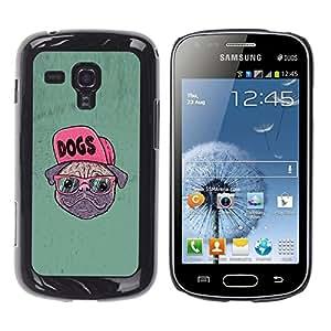 Qstar Arte & diseño plástico duro Fundas Cover Cubre Hard Case Cover para Samsung Galaxy S Duos / S7562 ( Dog Pug Funny Art Swag Style Glasses Hipster)