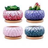 ROSE CREATE 4 pcs 3.9 Inches Ceramic Succulent Planters - with Bamboo Trays, Small Plant/Cactus/Bonsai/Flower Container Pots Gift with a Drainage Hole for Windowsill and Office Table Home Decor
