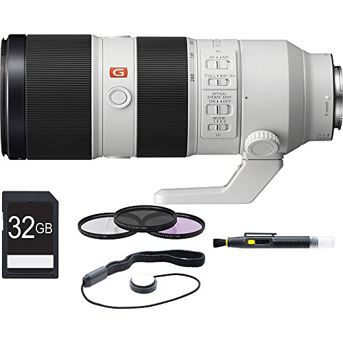 Sony FE 70-200mm F2.8GM OSS Lens, Filter, and Card Bundle - Includes Lens, 77mm UV, Polarizer, and FLD Deluxe Filter Kit, 32GB SDHC Memory Card, Lens Cap Keeper, Cleaning Pen, and Microfiber Cloth by Sony