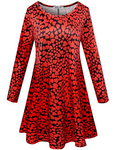 Aphratti Womens Long Sleeve Valentines Cute Heart Print Flare Casual Swing Dress Love Heart XX-Large