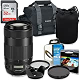 Professional Accessory Kit with Canon EF 70-300mm f/4-5.6 IS II USM Lens & Canon 300-DG Shoulder Bag + SanDisk 32GB Class 10 Memory + Bundle Package including HD filters