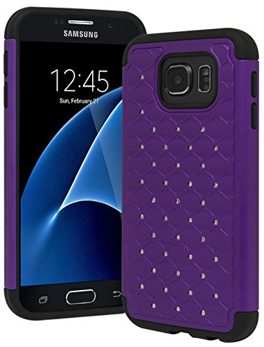 Rubberized Purple Rhinestones (Galaxy S7 Case, Bastex Heavy Duty Slim Fit Hybrid Rubber Silicone Cover with Bling Rhinestone Premium Dual Shock Phone Case for Samsung Galaxy S7 (Purple))
