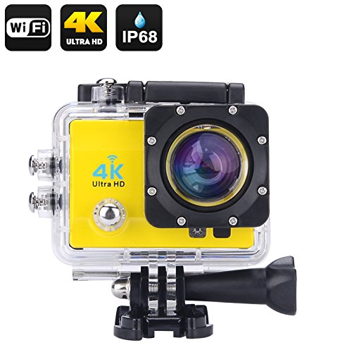4 K Wi Wasserdichte Sport Action Kamera – 4 K Ultra HD, 16 MP, 170 Grad Weitwinkel, 5,1 cm LCD Display, HDMI Out (gelb)