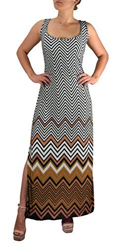 Bodice Striped Tank (Peach Couture Womens Boho Maxi Striped Chevron Print Scoop Neck Tank Dress (XL, Brown))