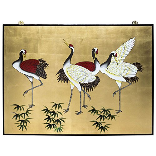 China Furniture Online Oriental Wall Plaque, Hand Painted Dancing Cranes Motif on Gold Leaf Wood Panel (Motif Crane)