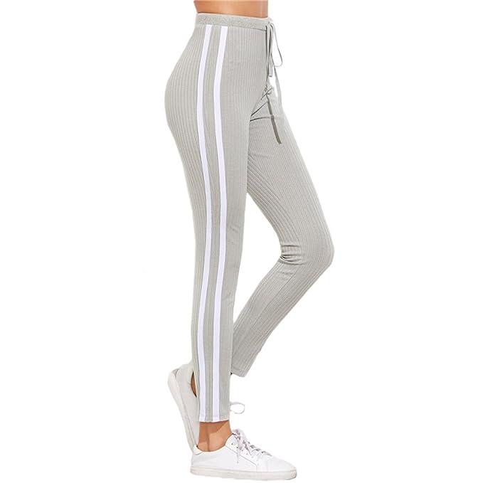Pantalones Largo para Mujer, Moda Cintura Alta Slim Pantalon a Rayas Cómodo Cintura Elástica Casual Pantalones Lápiz con Cordón para Yoga Aptitud Corriendo ...