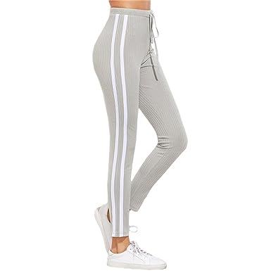 Haute Longs Mod Femme Rayé De Taille Pantalons C0w0qfX