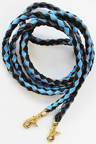 (CHALLENGER Horse Western Round Braided Leather Roper Barrel Reins Turquoise Brass 66RT01)
