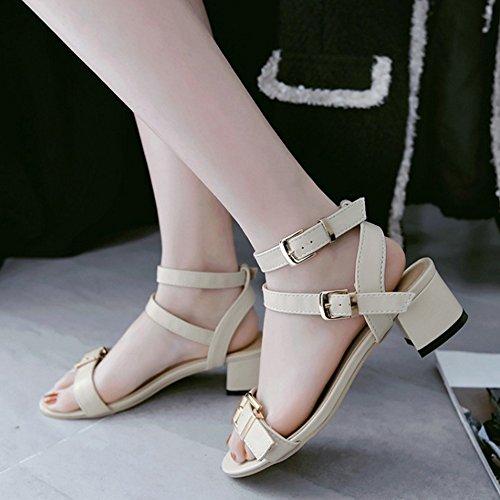TAOFFEN Mujer Moda Puntiagudo Sandalias Zapatos Tacon Ancho Tacon Medio Al Tobillo Zapatos Beige