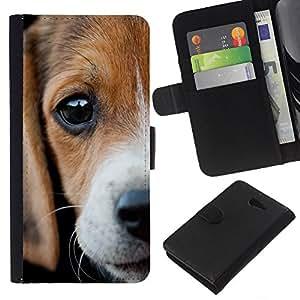 Beagle Eyes Sad Cute Puppy Pet - la tarjeta de Crédito Slots PU Funda de cuero Monedero caso cubierta de piel Sony Xperia M2