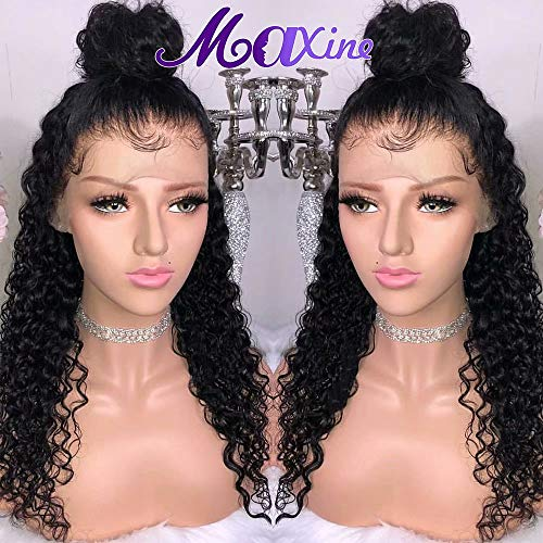 Maxine Water Wave Wig 360 Lace Frontal Wig Pre Plucked with Baby Hair Wet and Wavy Human Hair Wig for Black women Natural Color(22inch)