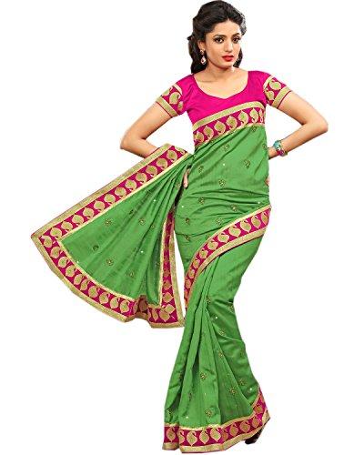 Mohini Sarees Women's Graceful Bhagalpuri Silk Saree Withresham Work 6.3 Meters Green & Pink