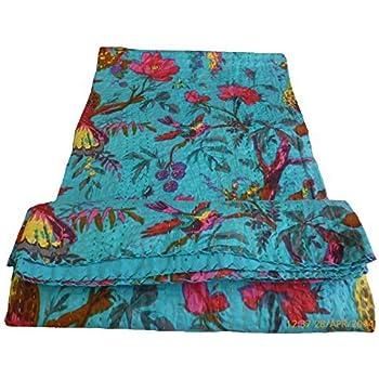 Delightful Bird Print King Size Kantha Quilt Sky Blue , Kantha Blanket, Bed Cover, King