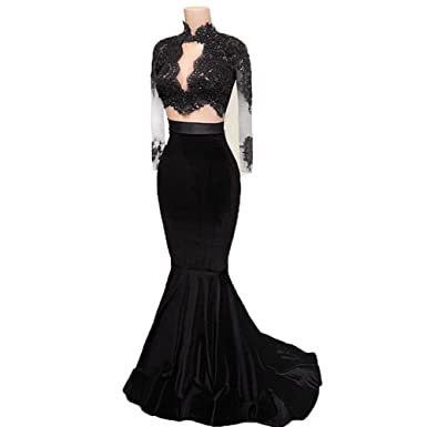 CCBubble Two Piece Prom Dresses Mermaid Long Sleeves Velvet Prom Evening DressesBlack-US2