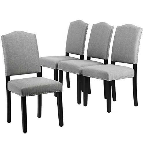 BestMassage Dining Chairs Armless Room Chair Accent Kitchen Solid Wood Living Modern Style for Home Furniture (Set of 4)