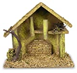 Nativity Creche - Nativity Stable Covered with Moss and Wood Chips - Wooden Creche