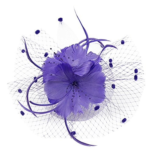 - Auranso Derby Netting Mesh Headband Feather Big Flowers Hair Band Tea Party Girls Women Wedding Bridal Fascinator Hat Purple