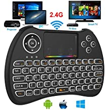 Mini Wireless Keyboard, Super-VIP 2.4GHz Mini Wireless Keyboard with Mouse Touchpad Rechargeable Combos for Android TV Box, Kodi,HTPC, IPTV, PC, PS3,Xbox 360, Raspberry Pi 3, (H9 Backlight)