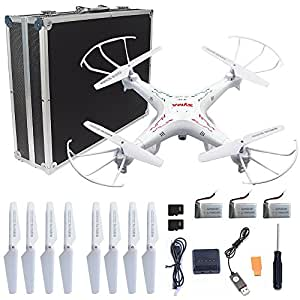 Syma X5C-1 RC Quadcopter Toys with Potable Carrying Case HD camera explorers 2.4GHz 6 Axis Gyro 4CH Drone, (Extra: 2 x 600mAh Battery, 1 x 4-in-1 charger, 1 x 4G Micro SD Card, 4 x propellers)