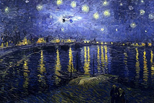 Time Machine on a Starry Night Over the Rhone Van Gogh Art Humor Poster