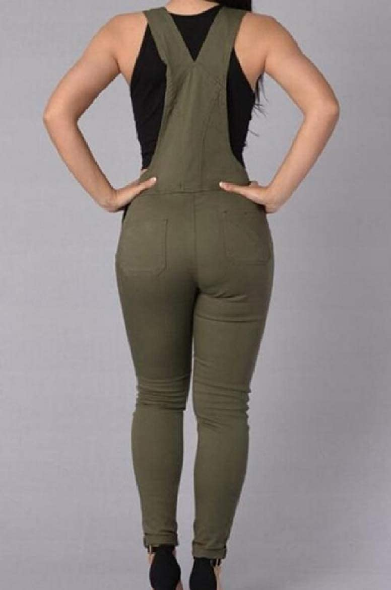 Abetteric Women Skinny Buckles Jean Pencil Pants Casual Suspender Jumpsuits Overalls