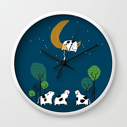 Cow Jump Over The Moon Wall Clock White Frame, Black Hands