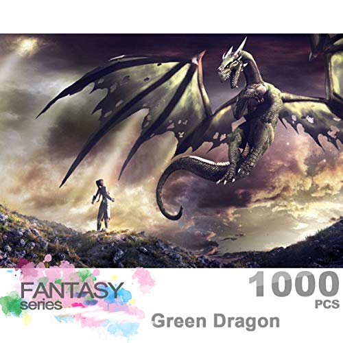 Ingooood- Jigsaw Puzzle 1000 Pieces for Adult- Fantasy Series- Dragon Series Glow in The Dark Puzzles Entertainment Wooden Puzzles Toys (Green Dragon) (Dragon 1000 Piece Jigsaw Puzzle)