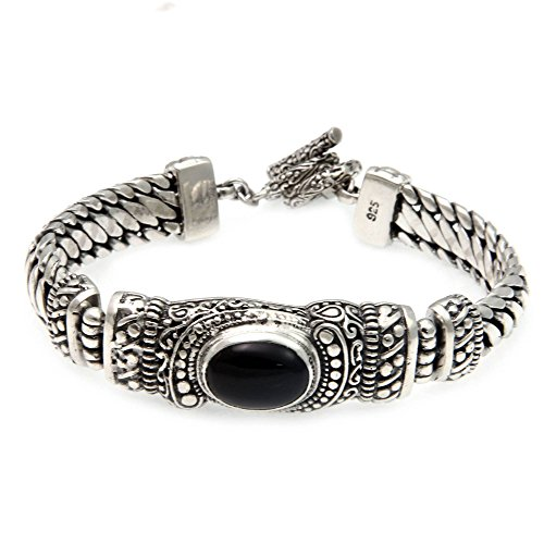 NOVICA Black Onyx .925 Sterling Silver Chain Bracelet with Toggle Clasp, Royal Bali'