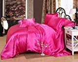 MoonLight Bedding Luxurious Ultra Soft Silky Satin 7-Piece Bed Sheet Set with Duvet Cover Set Cal-King, Hot pink