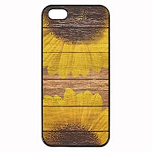 Yellow Sunflowers Rustic Vintage Brown Wood Carved Printed Plastic Rubber Sillicone Customized iPhone 5 Case, iPhone 5S Case Cover, Protection Quique Cover, Perfect fit, Show your own personalized phone Case for iphone 5 & iphone 5S by icecream design