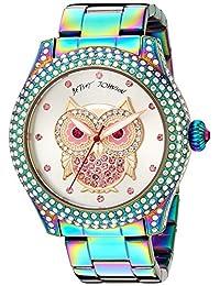 Betsey Johnson Women's BJ00019-73 Owl Motif Oil Slick Stainless Steel Case and Bracelet Watch