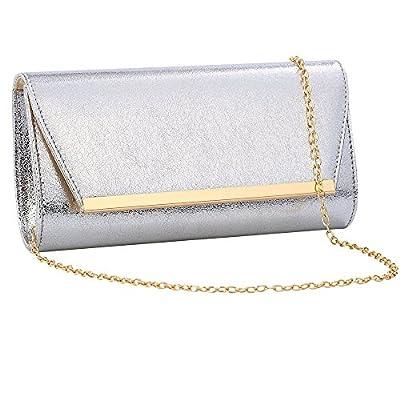 Womens Evening Clutch Bridal Prom Handbag shoulder bag Wedding Purse Party Bag (SLIVER)