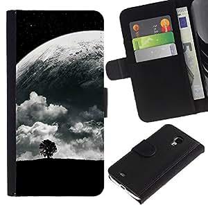 LECELL--Cuero de la tarjeta la carpeta del tirón Smartphone Slots Protección Holder For Samsung Galaxy S4 Mini i9190 -- Árbol solo y Luna --