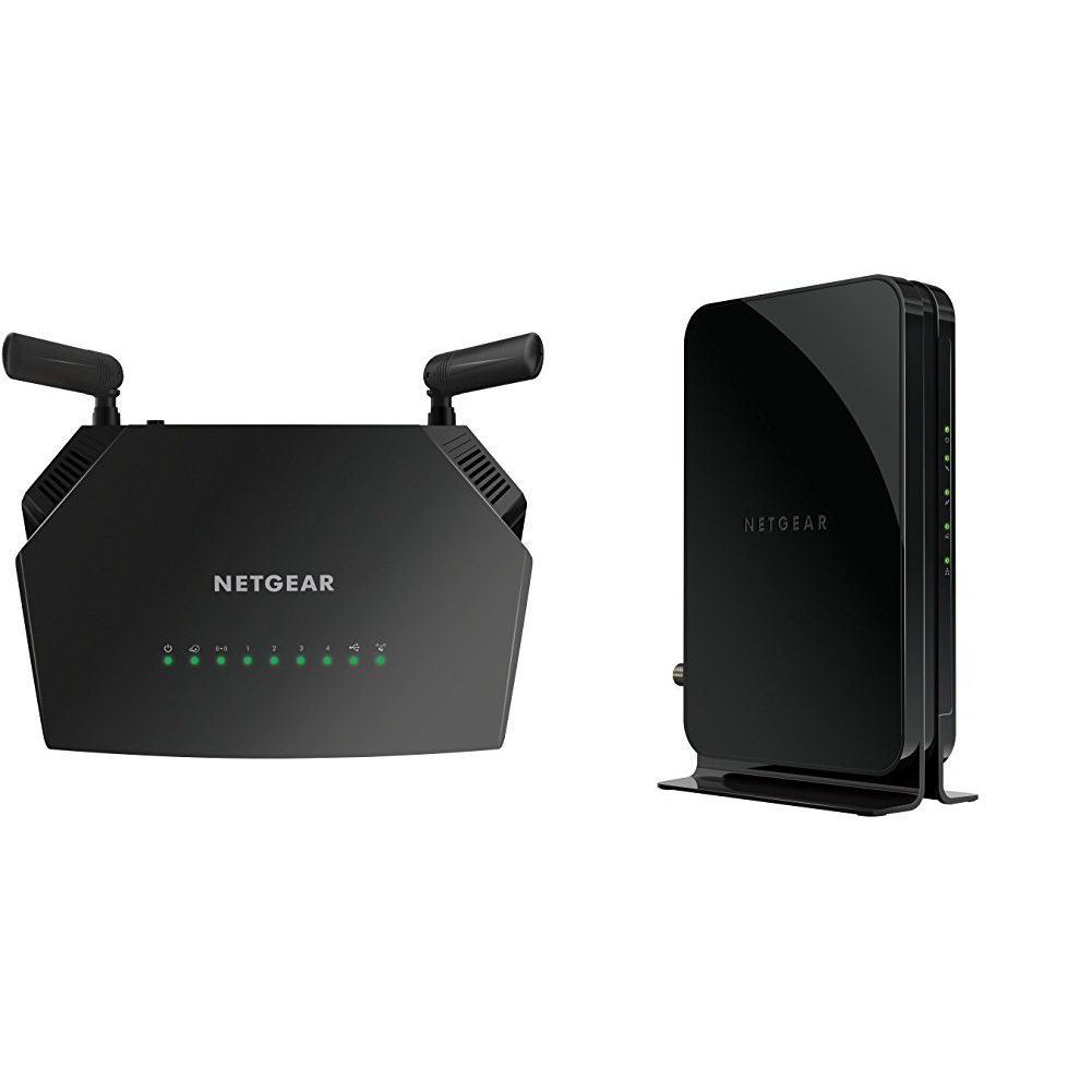 NETGEAR AC1200 Smart WiFi Router – Dual Band Gigabit (R6230) with NETGEAR CM500 (16x4) DOCSIS 3.0 Cable Modem, Certified for Xfinity from Comcast, Spectrum, Cox, Cablevision & more (CM500-1AZNAS) by NETGEAR