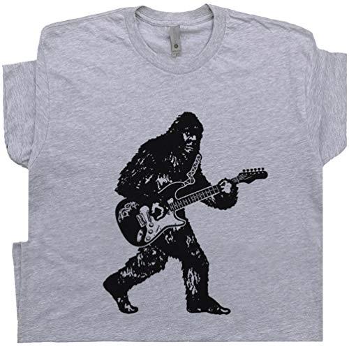L - Bigfoot Guitar T Shirt Playing Player Band Vintage Banjo Bluegrass Concert Sasquatch Electric Bass Tee Men Women Kids Gray