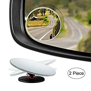 "Dependable Direct HD Frameless Blind Spot Mirror - Round 2"" Convex Glass Mirror - Two-Way Design (Fixed and 360° Adjustable Angle Use) - Rear View - Pack of 2"