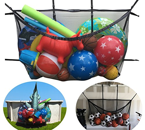 "Giant Pool Storage Bag - Multi-Purpose & Adjustable Organizer - For Pool, Fence, Deck, Garage, Gym - 60"" pouch for floats, sports balls, inflatable rafts, toys, yoga, and more"