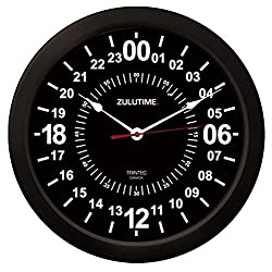 Trintec 24 Hour Military Time Zulu Time Wall Clock 14 - ZT24 Black