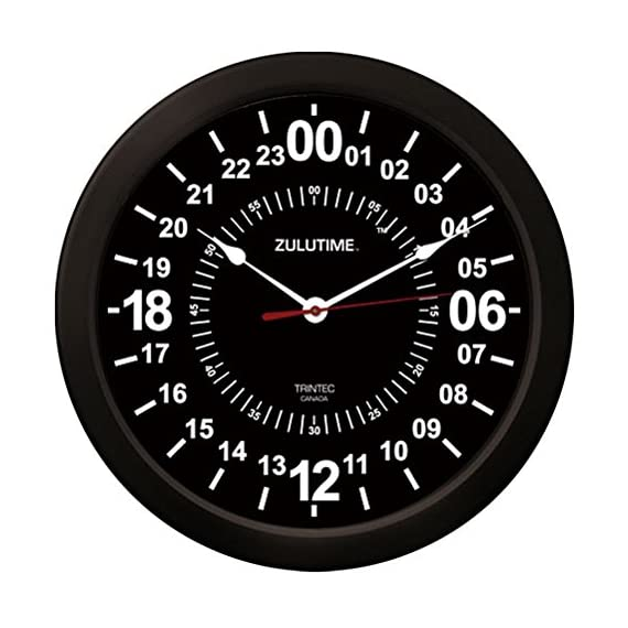 """Trintec 24 Hour Military Time Black Zulu Time Wall Clock 14"""" ZT24B - Injection molded from high impact styrene and features an acrlyic lens for durability and scratch resistance. Quality made Quartz clock movement for accuracy which will provide many years of reliable service One """"AA"""" alkaline battery required - wall-clocks, living-room-decor, living-room - 51iHVP VInL. SS570  -"""