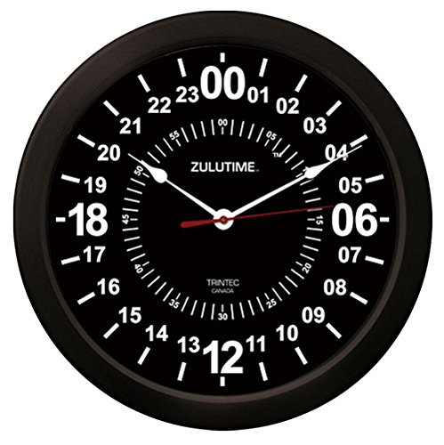 "51iHVP VInL - Trintec 24 Hour Military Time Zulu Time Wall Clock 14"" - ZT24 Black"