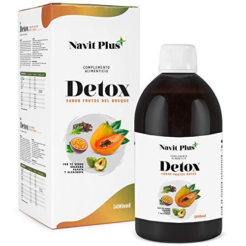 Detox adelgazante | Diuretico potente natural liquido 500ml sabor frutos rojos | Formula detox drenante, antioxidante | Eliminacion de toxinas | Te verde, guarana, papaya, alcachofa | VEGANO