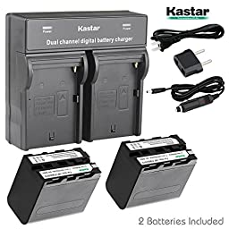 Kastar Dual Smart Fast Charger & 2 x Battery for Sony NP-F970 NP-F960 and CCD-RV100 CCD-RV200 CCD-SC9 CCD-TR1 CCD-TR940 CCD-TR917 Camera CN-126 CN-160 CN-216 CN-304 YN 300 VL600 LED Video Light