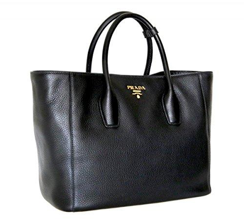 Prada Women's BN2694 Black Leather Shopper