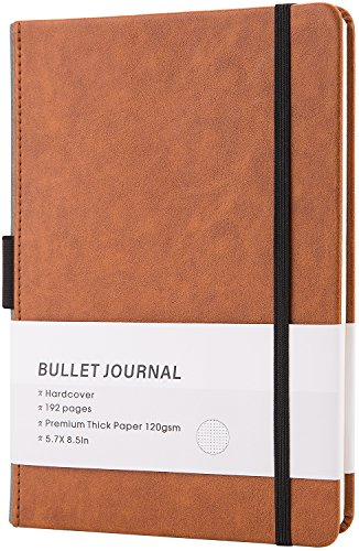 Bullet Journal/Notebook - Dot Grid Hard Cover Notebook, Premium Thick Paper with Fine Inner Pocket, A5 Size(5