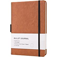 """Bullet Journal/Notebook - Dot Grid Hard Cover Notebook, Premium Thick Paper with Fine Inner Pocket, A5 Size(5""""x 8.25"""")"""