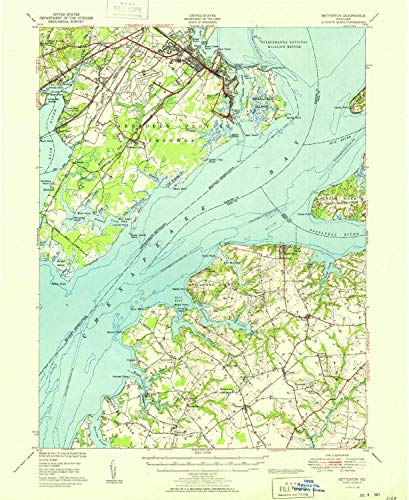 YellowMaps Betterton MD topo map, 1:62500 Scale, 15 X 15 Minute, Historical, 1951, 20.8 x 17 in - Tyvek