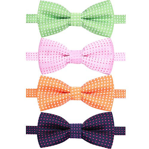 AUSKY 4 Packs Adjustable Pre-tied Bow Tie for