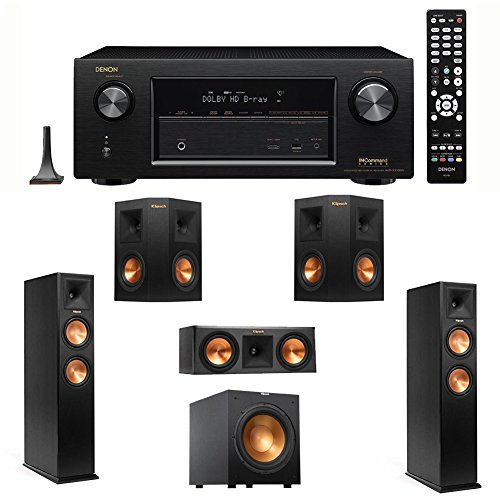 "Denon AVR-X3100W 7.2 Channel Full 4K Ultra HD A/V Receiver with Bluetooth and Wi-Fi + 2 Klipsch RP-260F Reference Premiere 260 Floorstanding Speaker with Dual 6.5 inch Cerametallic Cone Woofers - Each + Klipsch R-12SW Powerful 12"" 400 watts Subwoofer + Klipsch RP-250C Reference Premiere 250 Center Channel Speaker with Dual 5.25 inch Cerametallic Cone Woofers + 2 Klipsch RP-240S Reference Premiere 240 Surround Speaker with Dual 4 inch Cerametallic Cone Woofers"