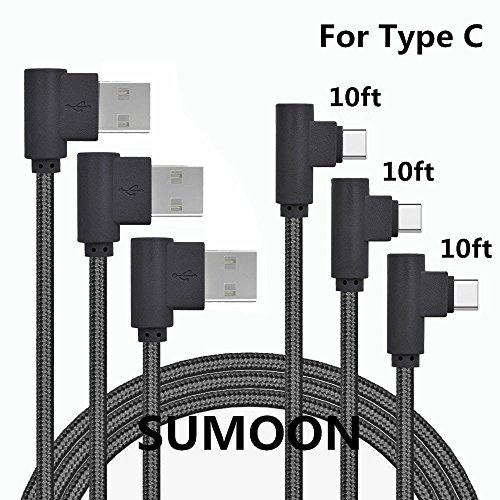 Htc Diamond Design Snap - USB Type C Cable, SUMOON 3Pack 10FT 90 Degree Nylon Braided USB A to USB C Charger Cable Fast Charging Cord for Note8/S8/S8 Plus, Google Pixel 2 XL/Pixel XL, LG V30/G6, HTC 10 and More (Black)